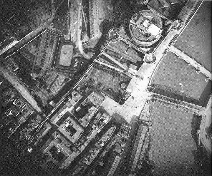 Parte dei Borghi, il ponte provvisorio e Castel Sant'Angelo