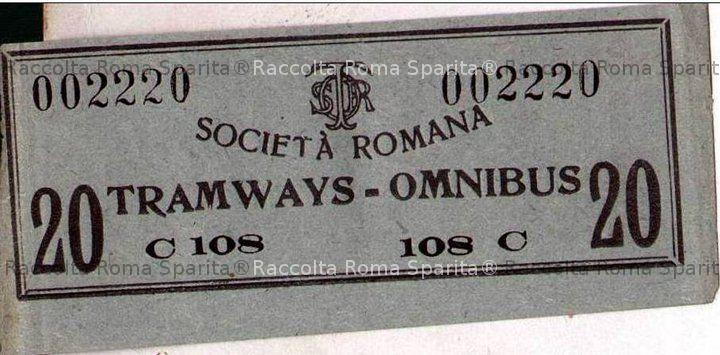 Biglietto Tramways Omnibus comunali