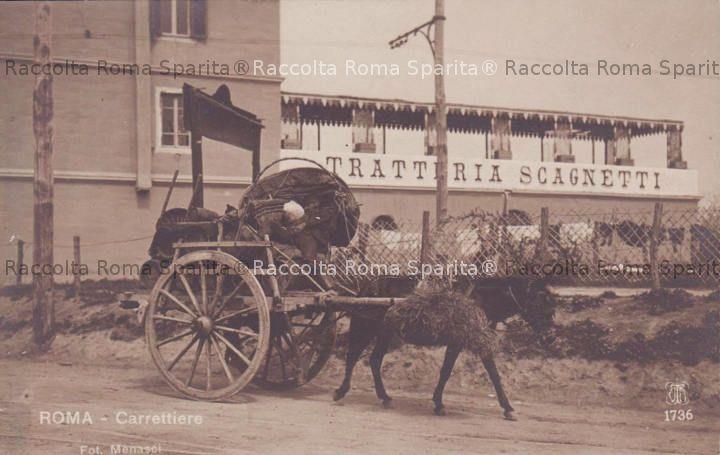 La trattoria Scagnetti e un carro a vino