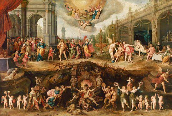 L'uomo che deve scegliere tra virtù e vizi, anno 1633 (Frans Francken II (1581 - 1642))