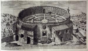 Il Mausoleo di Augusto con i giardini all'italiana. Dupérac - 1575